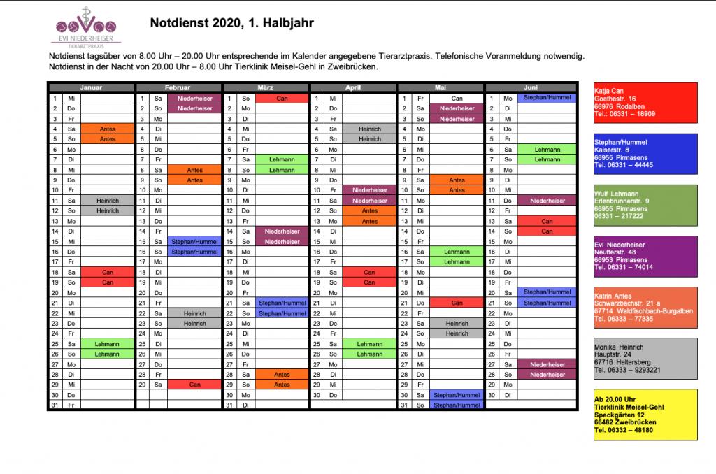 Tierarzt Pirmasens Notdienstkalender 1. Halbjahr 2020